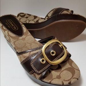 COACH Gretta Brown Leather Platform Wedge Sandals